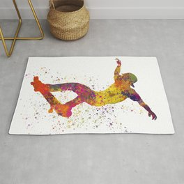 Boy on skateboard illustrated in watercolor 01 Rug