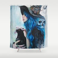 valentine Shower Curtains featuring Blue Valentine by Tanya Shatseva