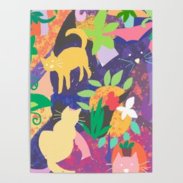 Cats and Plants with Abstract Background Poster