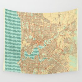 Perth Map Retro Wall Tapestry