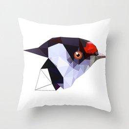 Geometric bird Tangarazinho Black Gray red Throw Pillow