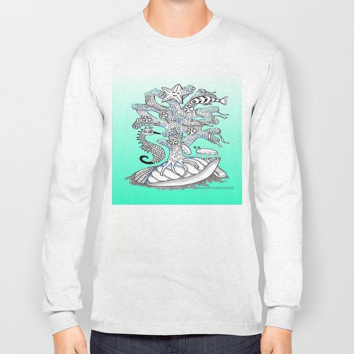 Zentangle Seahorse, Coral, Starfish Undersea Illustration Long Sleeve T-shirt