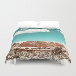 Vintage Red Rocks // Snow in the Mojave Desert Clouds Teal Sky Mountain Range Landscape Duvet Cover