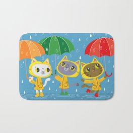 Rainy Day Kitty Cats Bath Mat
