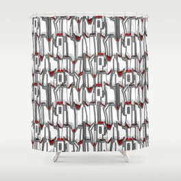 1960s classic fairy tails (tail fins) black, white and chrome Shower Curtain