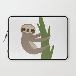 Three-toed sloth on green branch on white background Laptop Sleeve