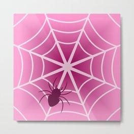 Spider web in pink Metal Print
