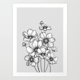 Flowers Black and White Art Print