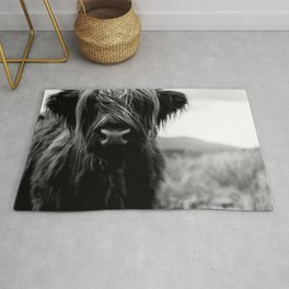 Scottish Highland Cattle Baby - Black and White Animal Photography Rug