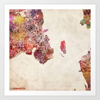copenhagen Art Prints featuring Copenhagen by MapMapMaps.Watercolors