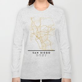 SAN DIEGO CALIFORNIA CITY STREET MAP ART Long Sleeve T-shirt
