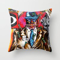 carnage Throw Pillows featuring Carnage by Alec Goss