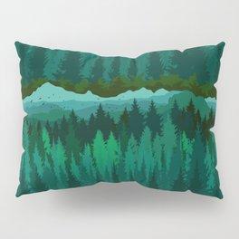 PNW Mountain Landscape in Emerald Green Pillow Sham