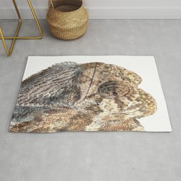 Chameleon With Sinister Facial Expression Isolated Rug