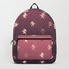 Modern Home Ombre Gold Unicorn Pattern Backpack