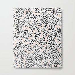 Helena - black white rose quartz abstract squiggle dot mark making painting brushstrokes minimal  Metal Print