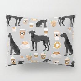 Great Dane coffee black coat color custom pet portrait dog art by pet friendly Pillow Sham