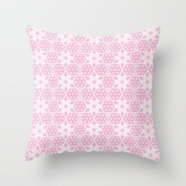 Stars and Hexagons Pattern - Pearly Pink Throw Pillow