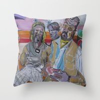 the big lebowski Throw Pillows featuring The Big Lebowski by Robert E. Richards