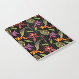Orchids & Ink (Black Background) Notebook