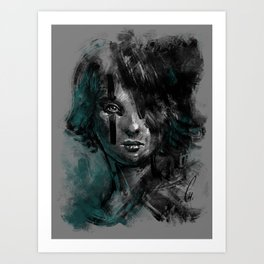 Ink and Color girl Art Print