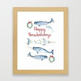 Happy Narwhalidays Framed Art Print