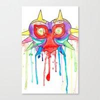 majoras mask Canvas Prints featuring Majoras Mask Splatter by ysocrazeh