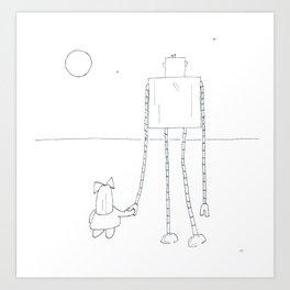 A Girl & Her Robot Art Print