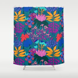 Psychedelic Jungle Garden in Pond Teal Shower Curtain