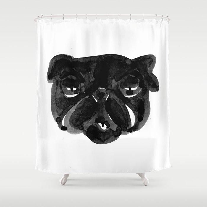 Black and white Pug Dog modern Shower Curtain