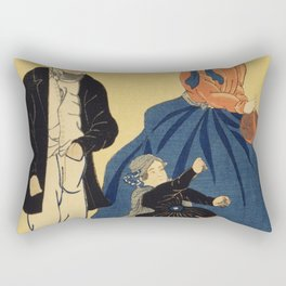 Amerika by Utagawa Yoshikazu (1848-1863) a traditional Japanese  of a Japanese print showing an Amer Rectangular Pillow