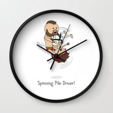 Spinning Pile Driver Wall Clock