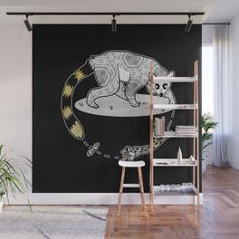 Ring Tailed Lemur, Frog & Fly, Funny Animal Illustration, Black and White Cute Lemur Graphic Design Wall Mural