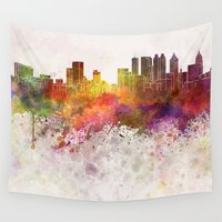 atlanta Wall Tapestries featuring Atlanta skyline in watercolor background by Paulrommer