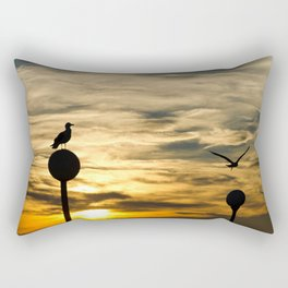 Birds in the sunset Rectangular Pillow