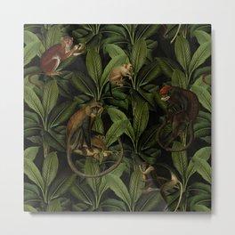 Monkey Vintage Botanical Night Jungle Garden Metal Print