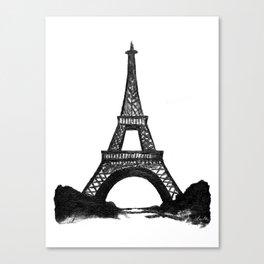 Eiffel Tower in Black Canvas Print