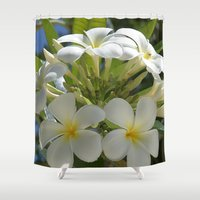 indonesia Shower Curtains featuring Plumerias (Bali, Indonesia) by Christian Haberäcker - acryl abstract