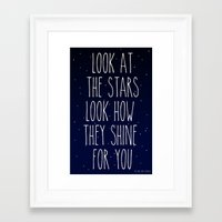 coldplay Framed Art Prints featuring Look How They Shine For You by Adel