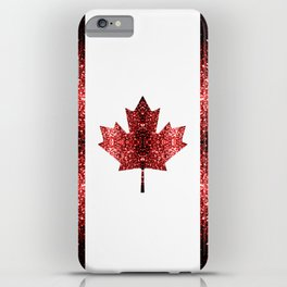 Canada flag red sparkles iPhone Case