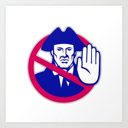American Patriot Stop Sign Retro Art Print