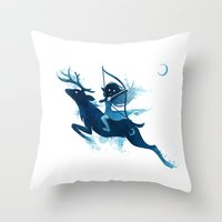 elf Throw Pillows featuring Elf Archer by Freeminds