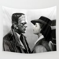 frankenstein Wall Tapestries featuring FRANKENSTEIN IN CASABLANCA by Luigi Tarini