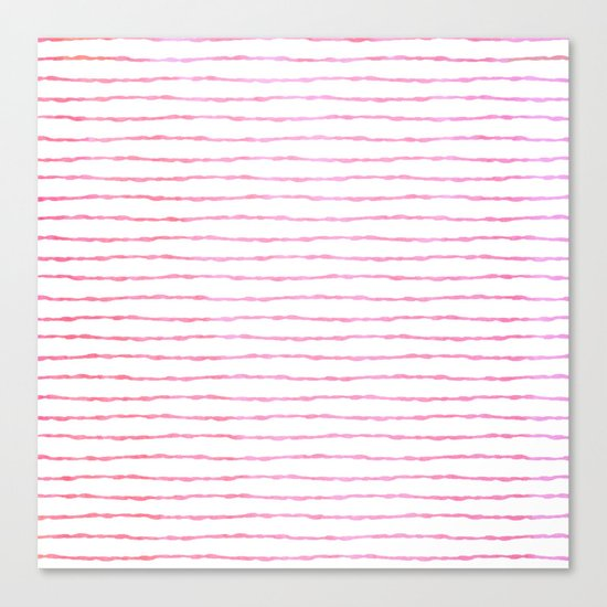 fine pink handpainted stripes on clear white Canvas Print