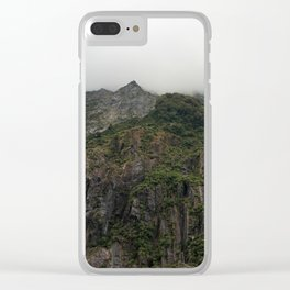 Misty mountain cliffs Clear iPhone Case