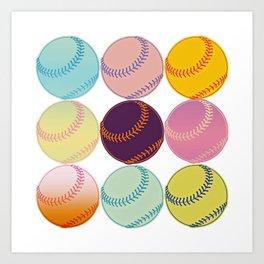 Pop Art Baseballs Art Print