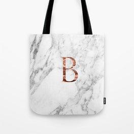 Monogram rose gold marble B Tote Bag
