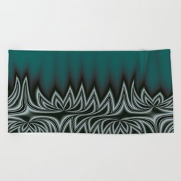 Fractal Tribal Art in Pacific Teal Beach Towel