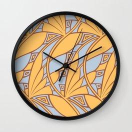 Modern art nouveau tessellations gamboge azure Wall Clock