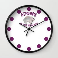 fitness Wall Clocks featuring Hippo Fitness by mailboxdisco